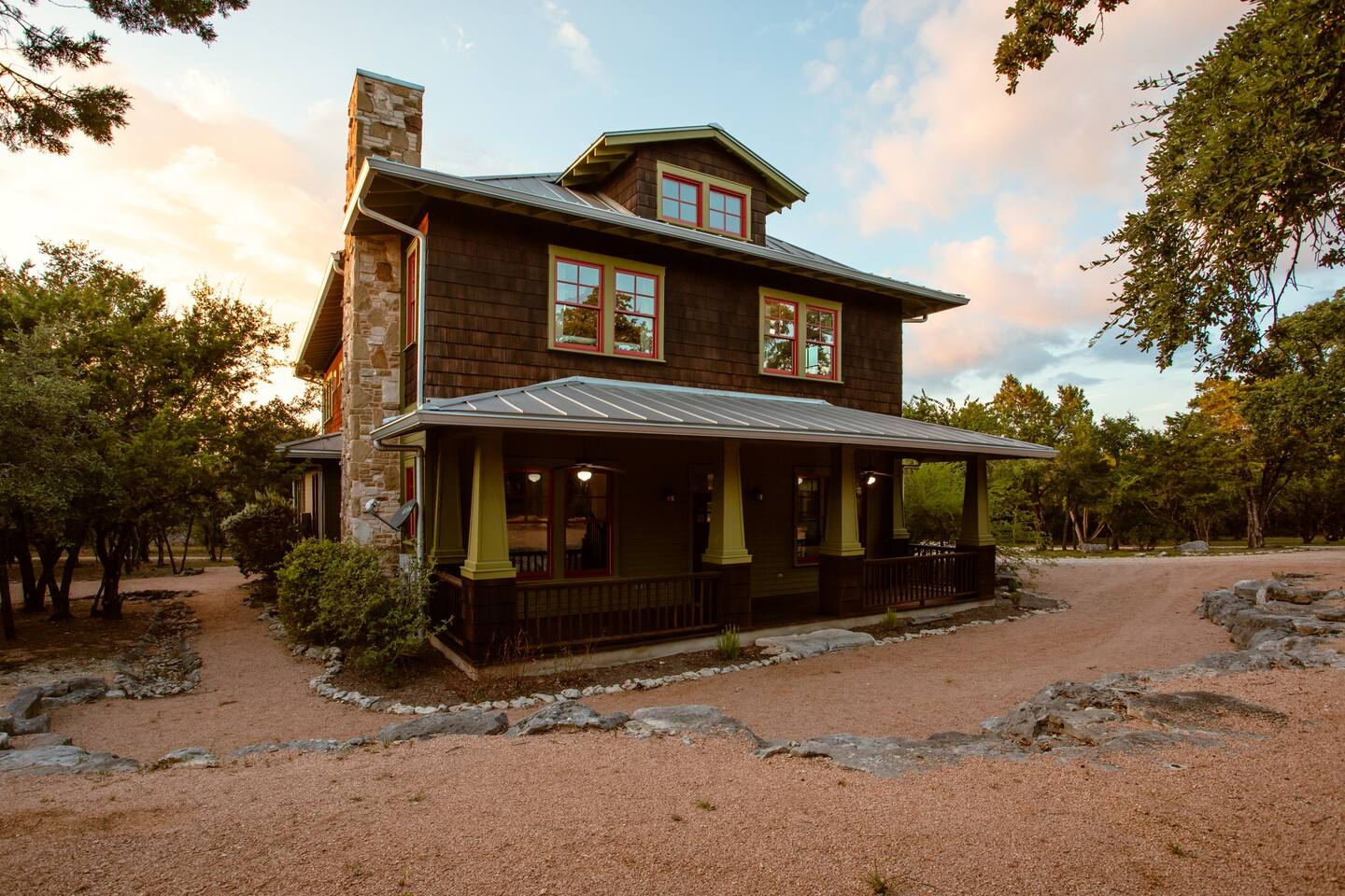 Photo of the exterior of Grit & Grace, one of the best Airbnbs in Texas.