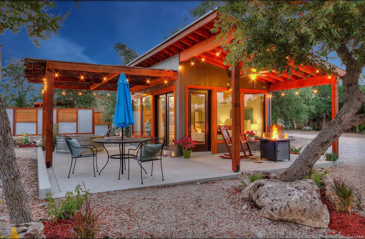 Photo of the exterior of a Hill County casita which is one of the best Airbnbs in Texas.