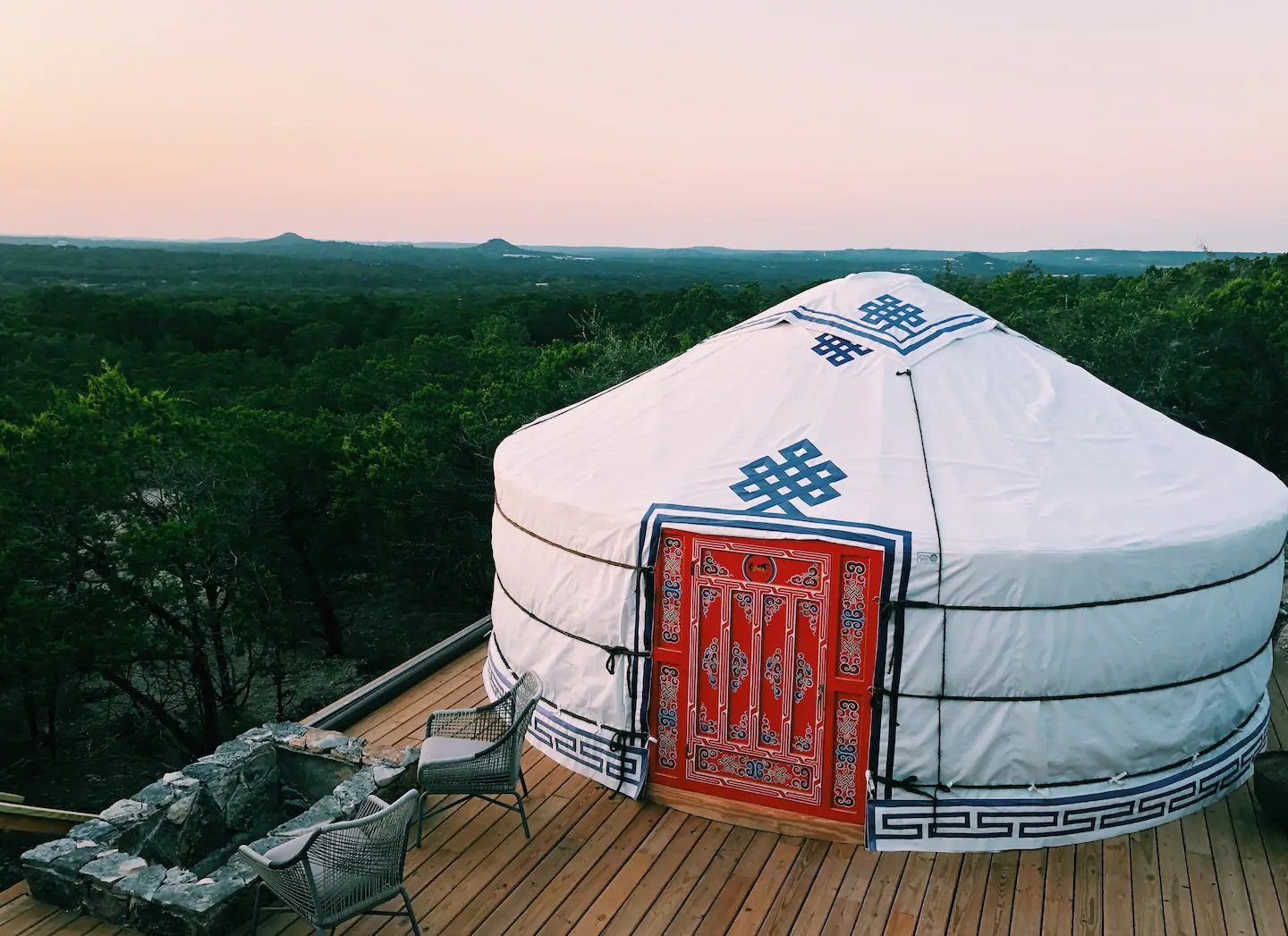 Photo of the exterior of a luxury yurt Airbnb located near New Braunfels.