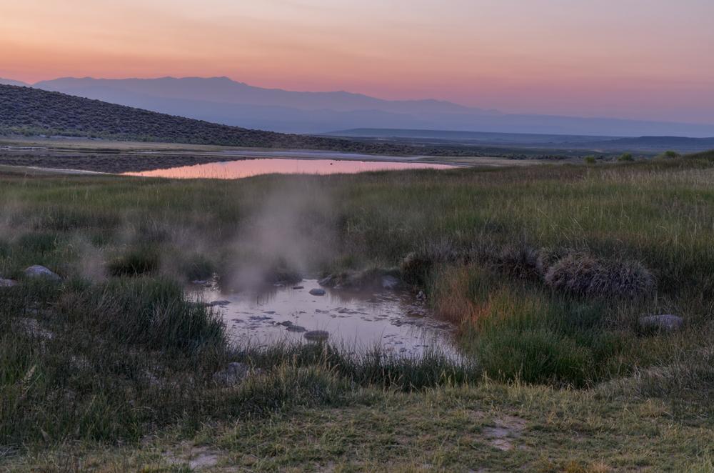 Sunrise or sunset over Whitmore Hot Springs