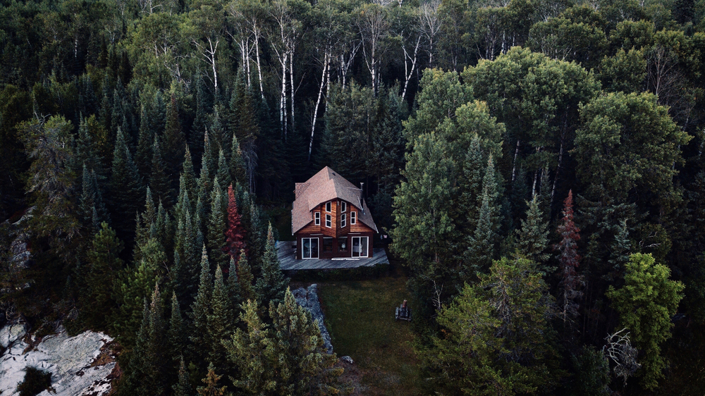 aerial view of large cabin in the trees cabins in the USA