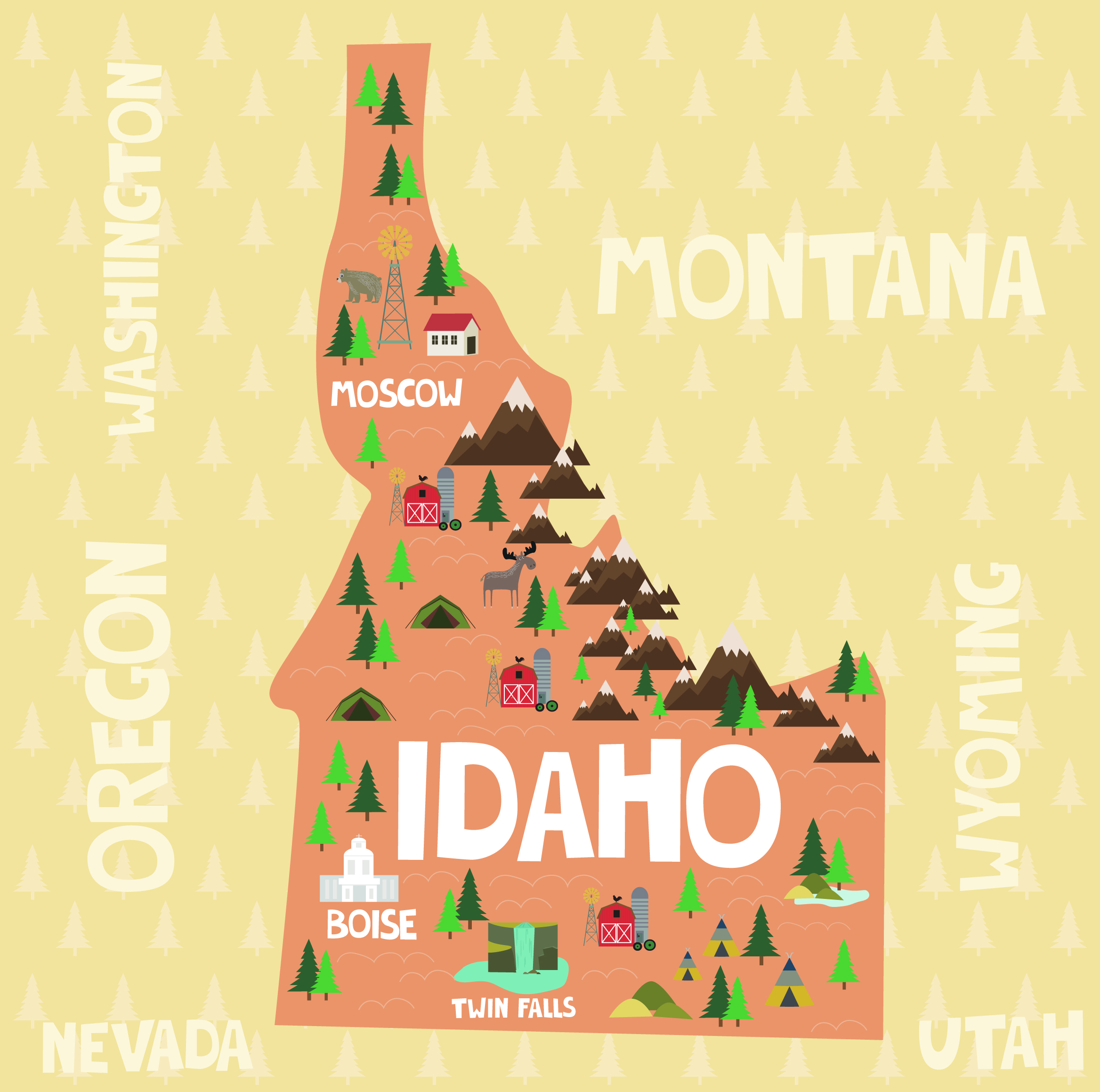 Idaho Road Trip Cartoon Map