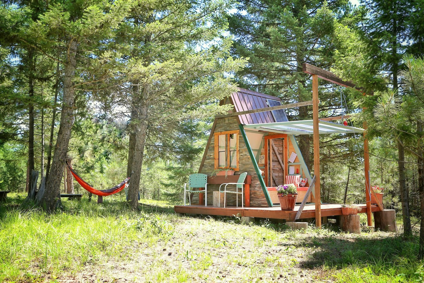 Photo of an A-Frame transforming tiny house Airbnb located in Montana.