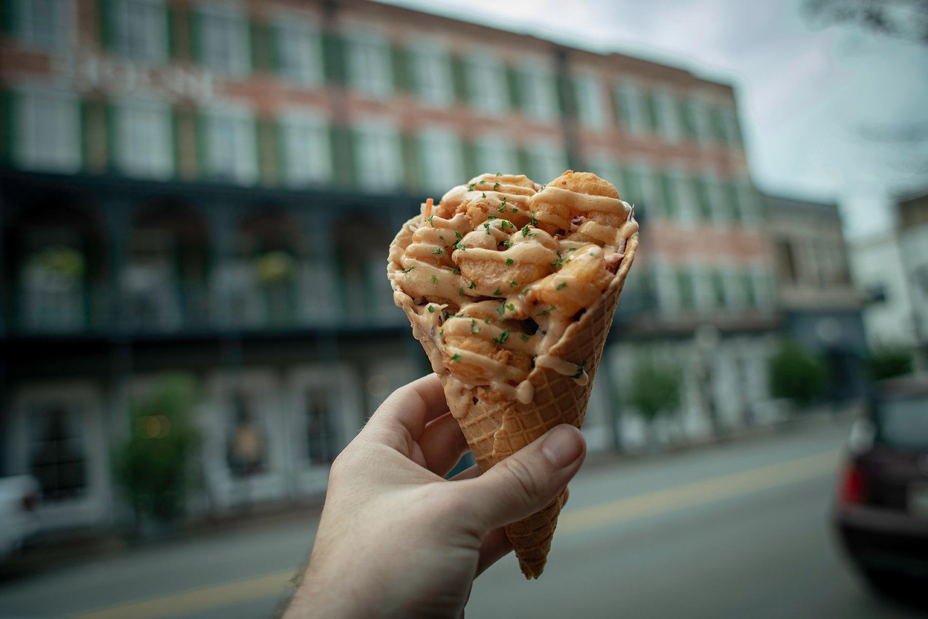 Shrimp meal on a food tour in Savannah