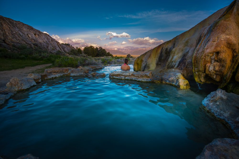 The Travertine Hot Springs feature a bunch of pools and views of thehe Sierra Mountains.