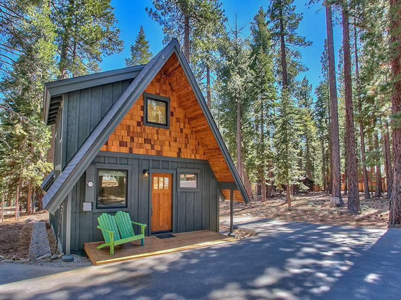 the modern mountain A-frame Lake Tahoe Airbnb
