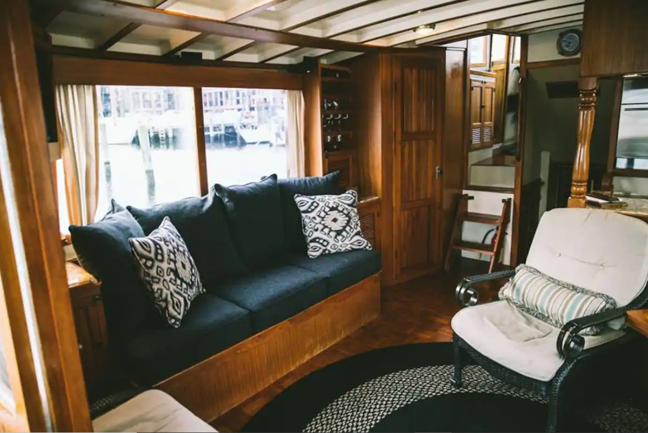 Seating area inside of a private yacht in Baltimore