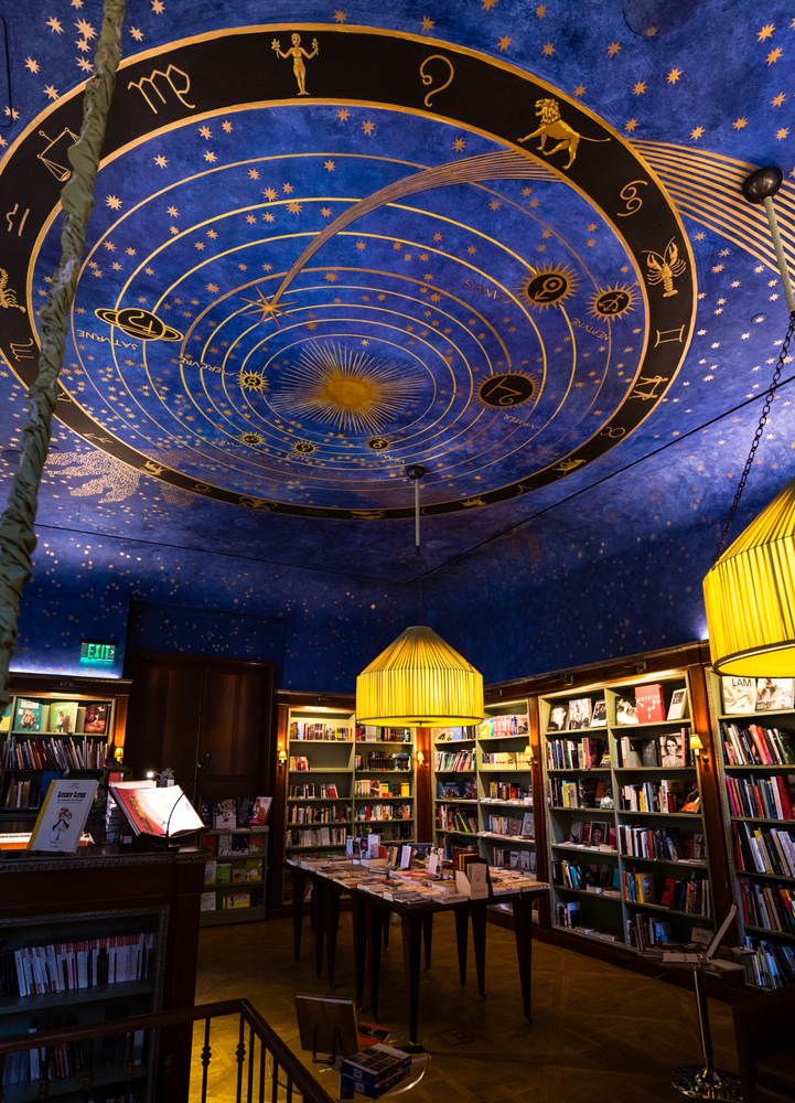 blue celestial ceiling in Albertine Books, one of the most unusual things to do in New York