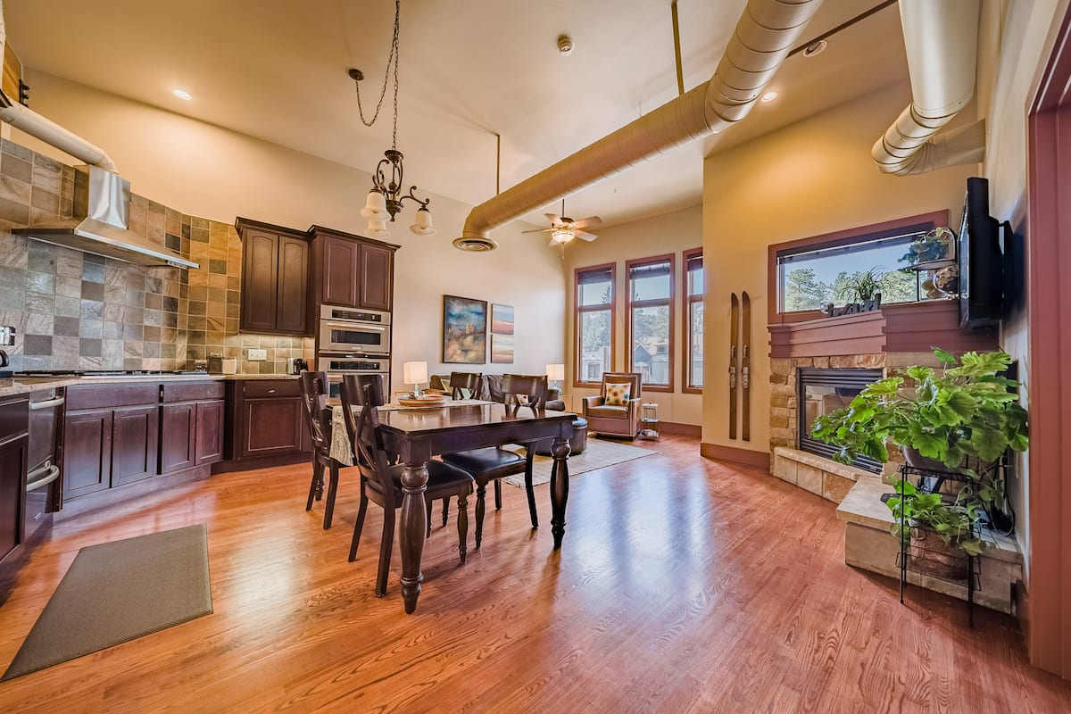a photo of a luxurious downtown loft, one of the best Estes Park airbnbs