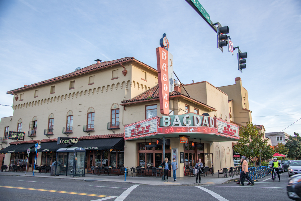 The outside of the Bagdad Theater, one of the properties lovingly restored by McMenamins and