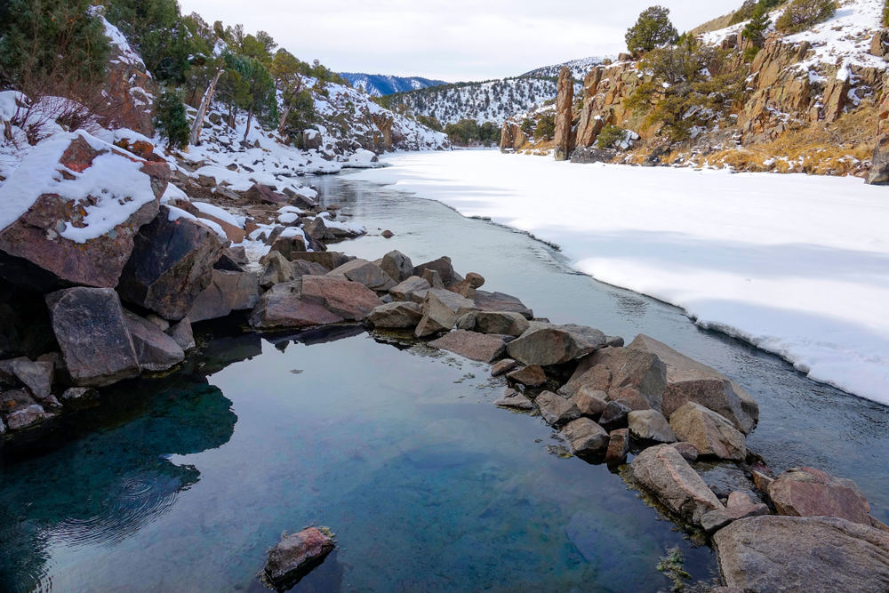 A photo of the Radium Hot Springs surrounded by snow