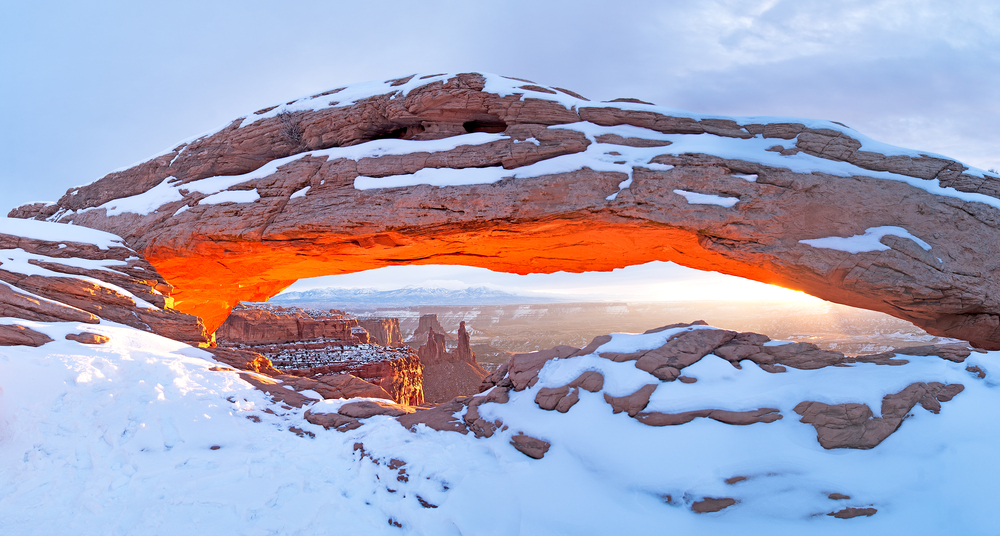 A photo of Arches National Park in winter, one of the best times of year to visit