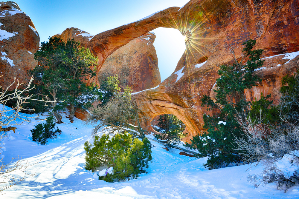 a photo of the arches in winter, a great time to go