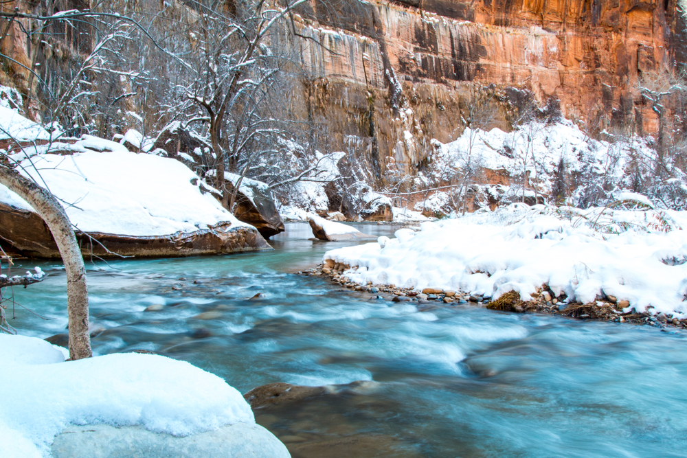 River with snow in Zion during winter