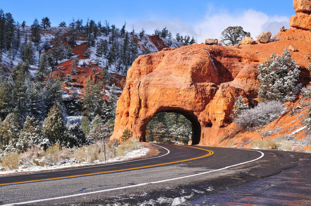Road in Zion National Park in winter