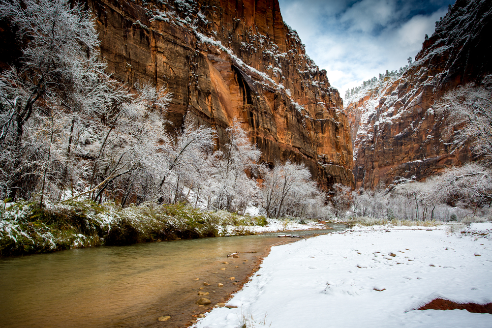 Landscape of Zion with snow
