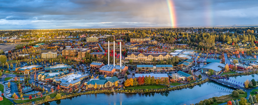 Arial view of Bend Oregon one of the cutest small towns on the West Coast
