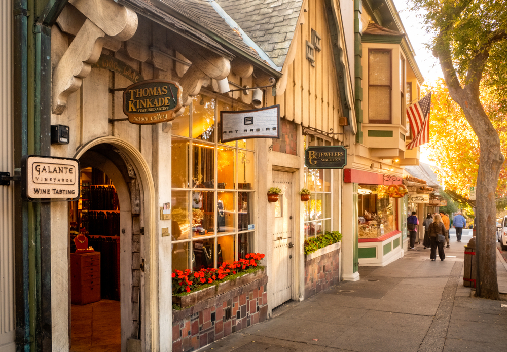 Looking down a street of cute boutique stores in Carmel-by-the-Sea California