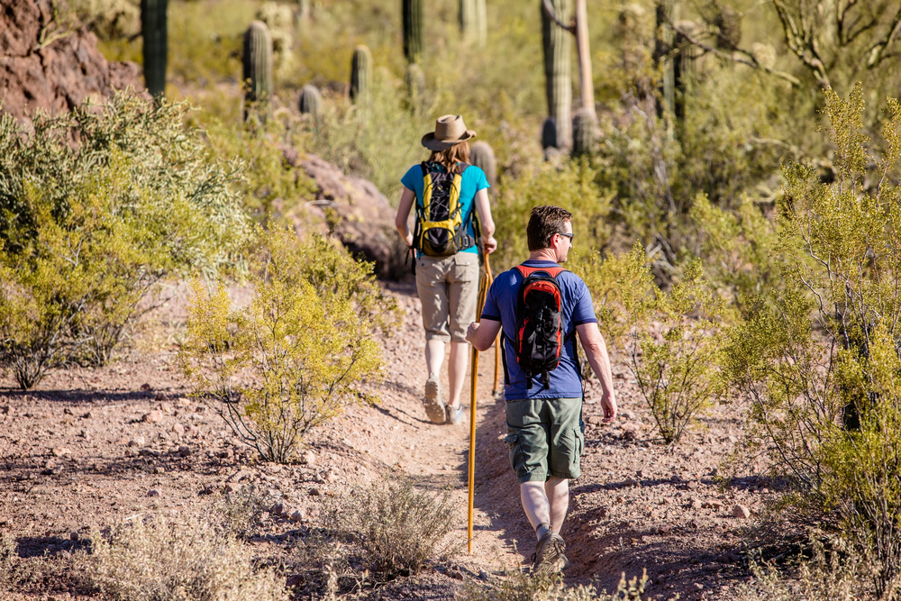 A couple hiking in Tucson Arizona one of the best honeymoons in the usa