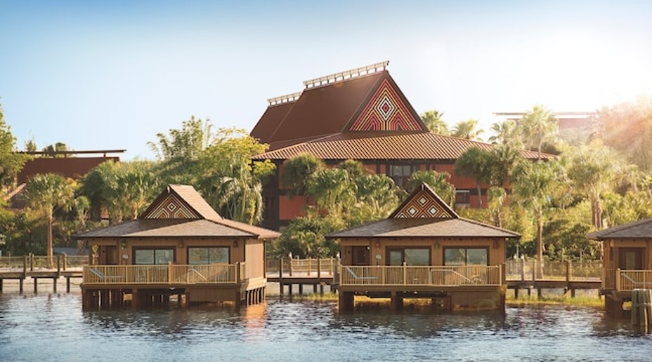 Several Polynesian inspired overwater bungalows at Disney's Polynesian Village Resort