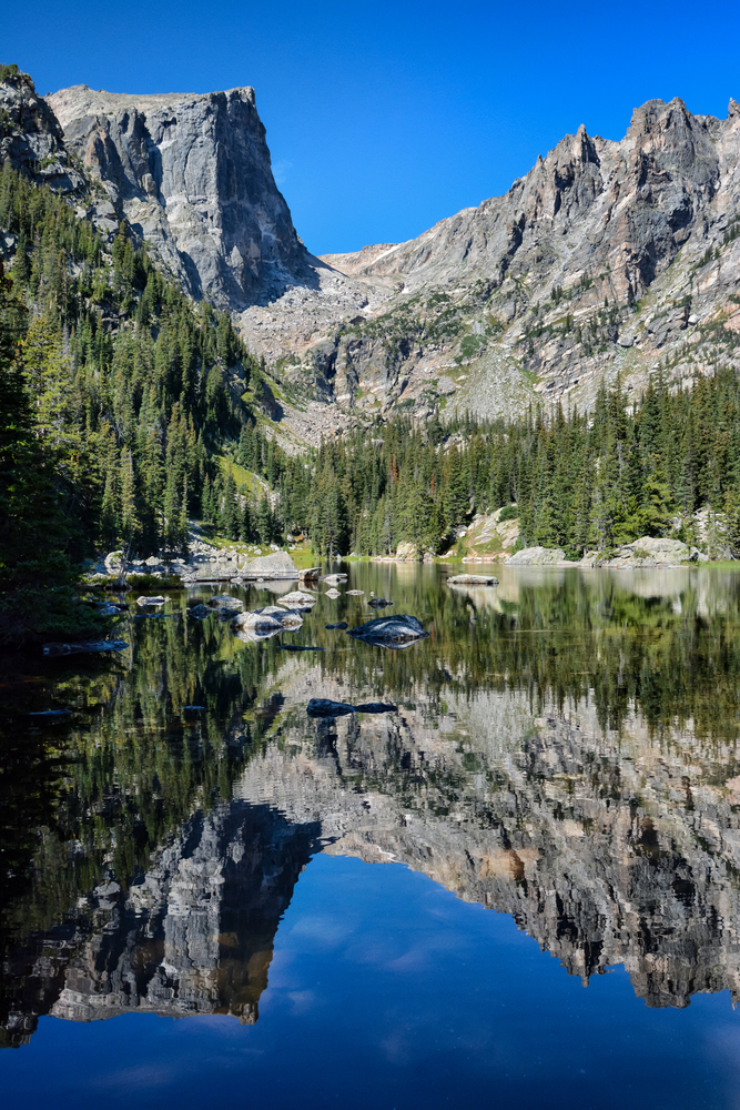 A large lake with a mountain peak in the background, with the mountain peak reflecting in the clear waters of the lake in Rocky Mountain National Park