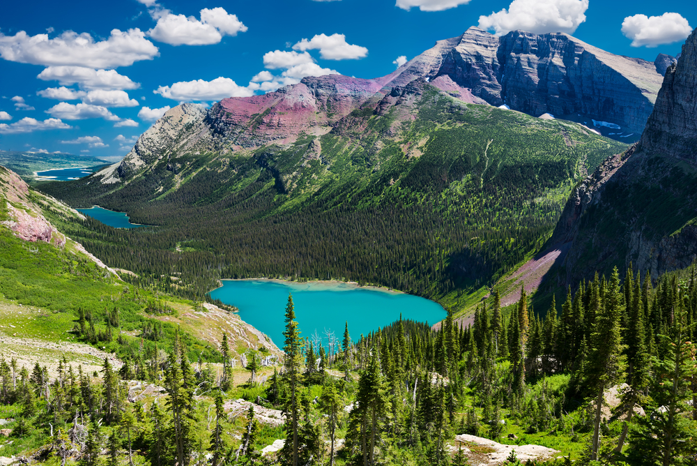 A valley filled with cobalt blue lakes surrounded by tall pines and large mountain peaks in Montana's Glacier National Park
