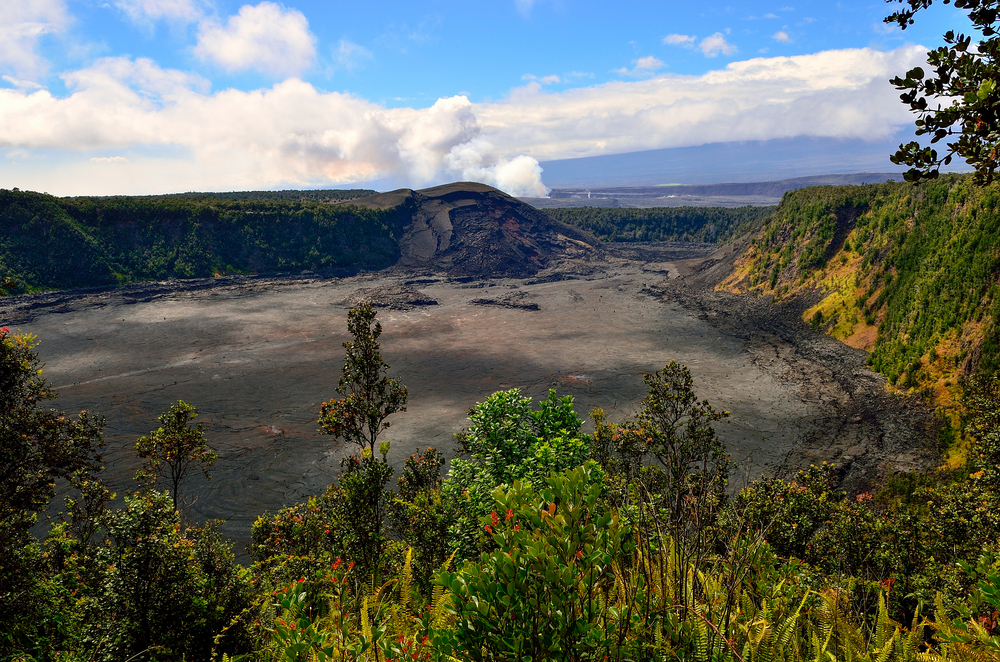 Looking down into the Kilauea Iki Crater, a volcanic crater created by Hawaii's Mt. Kilauea