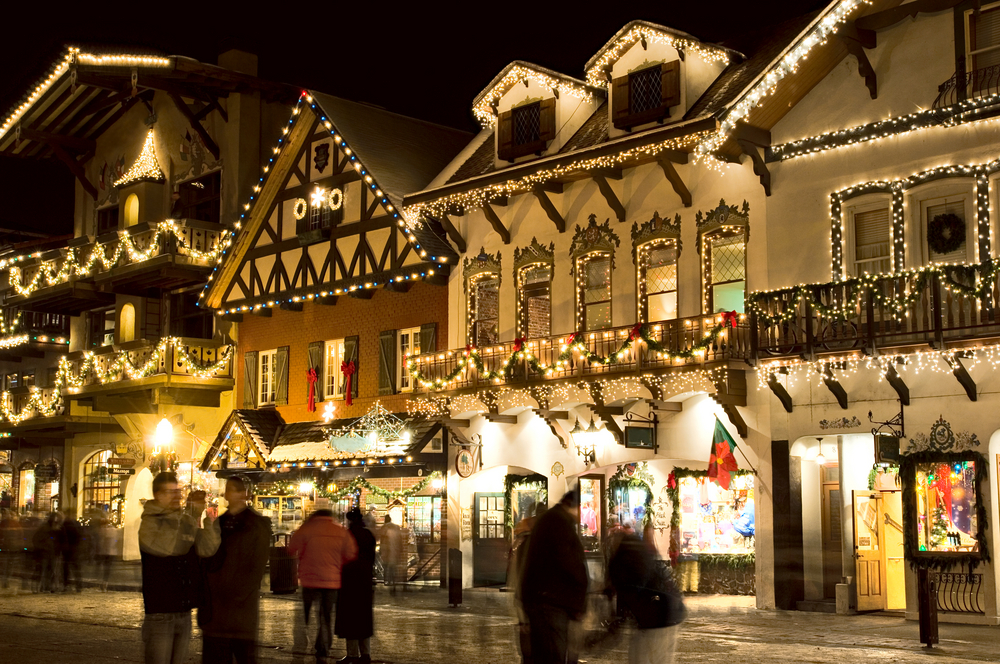 Town of Leavenworth Washington lit up with Christmas lights one of the cutest towns on the west coast
