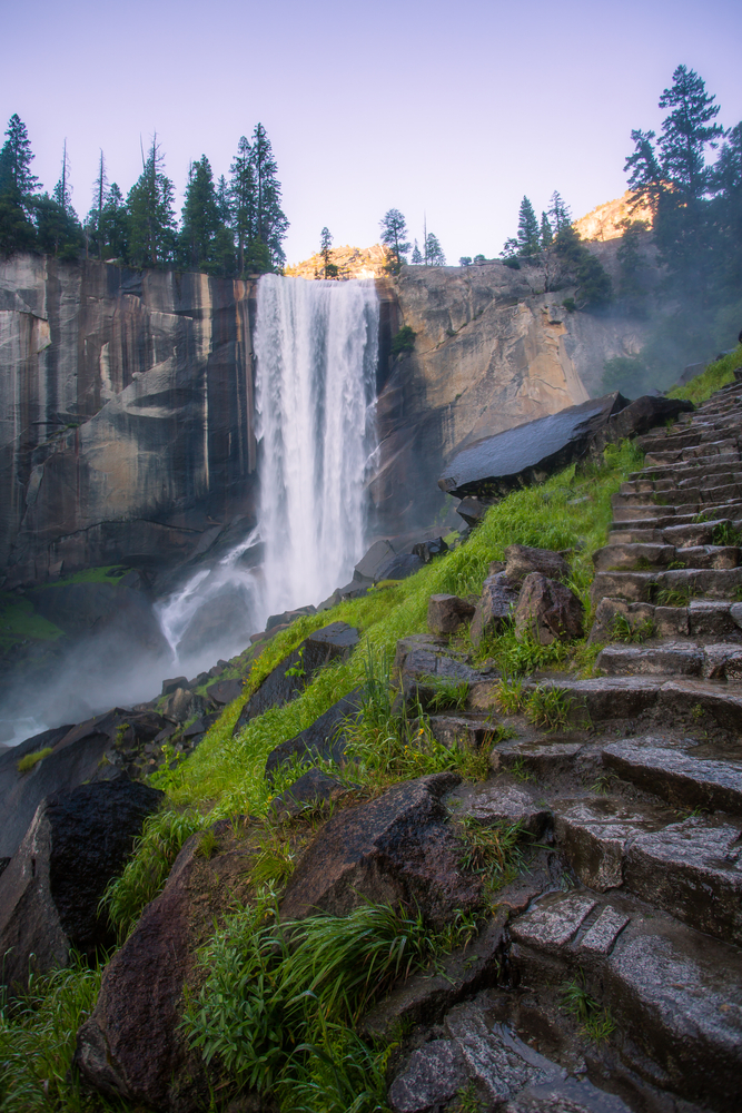 One of the waterfalls on the Mist Trail in Yosemite National Park one of the best hikes in the usa