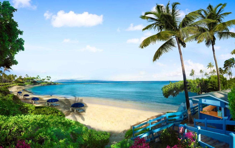 The beach at the Montage Kapalua Bay Resort in Maui, Hawai'i