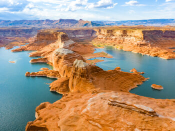 An aerial view of Lake Powell one of the places in Utah worth seeing