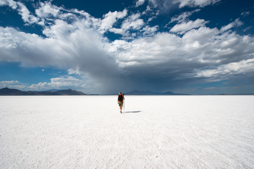 The salt flats one of the places in Utah to visit.