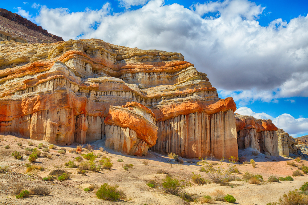 Large rock formations at California's Red Rock Canyon State Park one of the best hikes in the usa