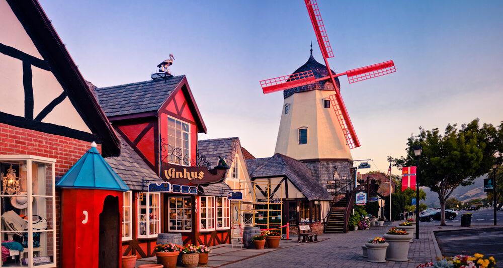 Danish street in Solvang California at twilight