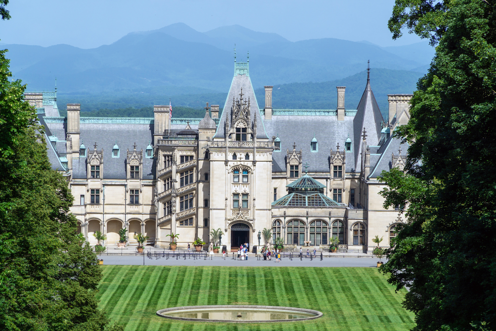 The front of the Biltmore Estate in the summer one of the best honeymoons in the usa
