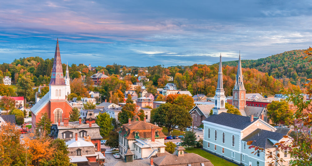 A view over a New England Town in an article about towns on the east coast