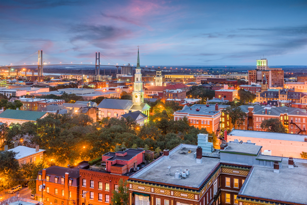 The city skyline of Savannah one on the towns on the east coast you need to visit