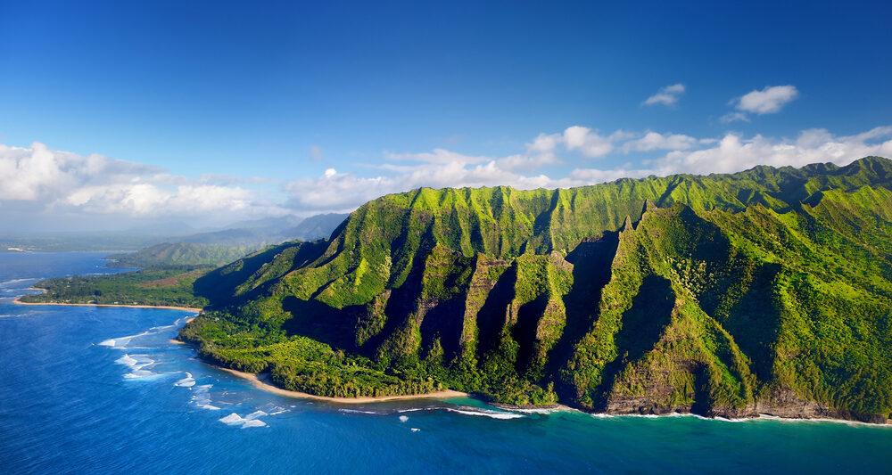 kauai coastline with green landscape