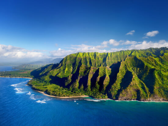 kauai coastline with green landscape