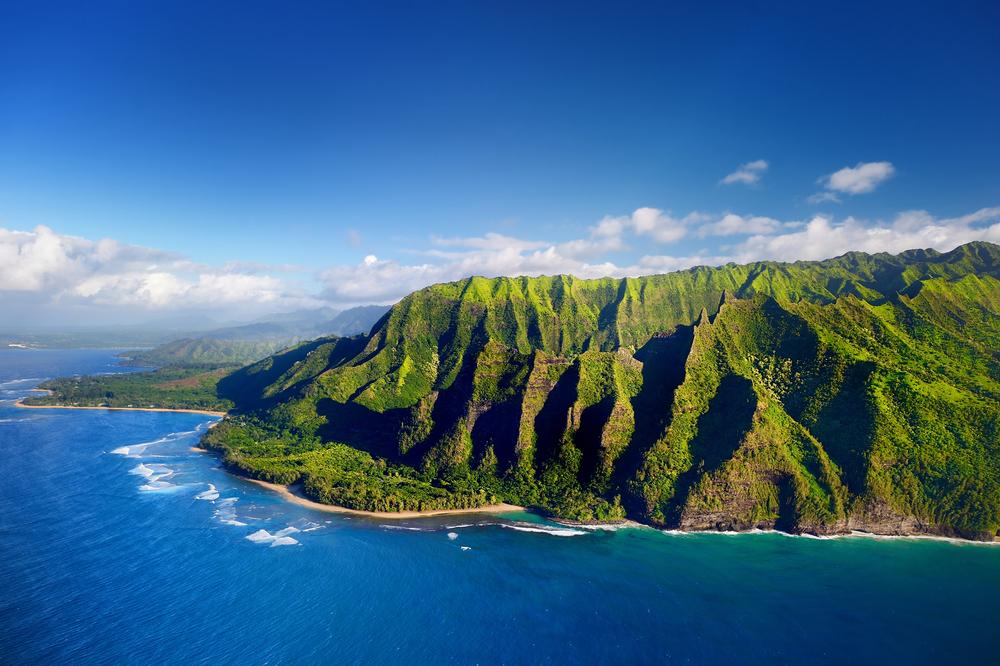 coastline of Kauai with a lush green landscape