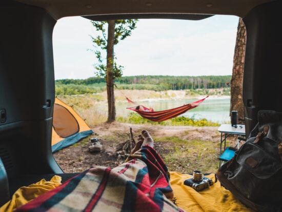 photo of a hammock at the lake