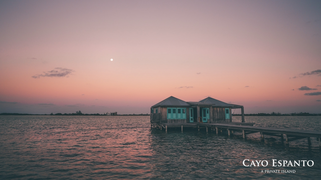 An overwater bungalow in the Caribbean on the private island resort of Cayo Espanto in Belize.