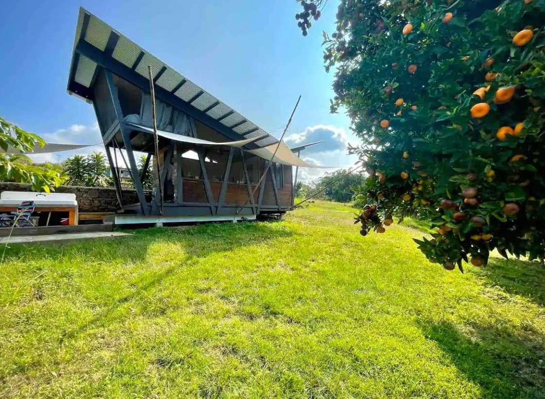 The exterior view of an angular shaped and modern style cabin on a Kona coffee farm surrounded by greenery best airbnbs in Hawaii