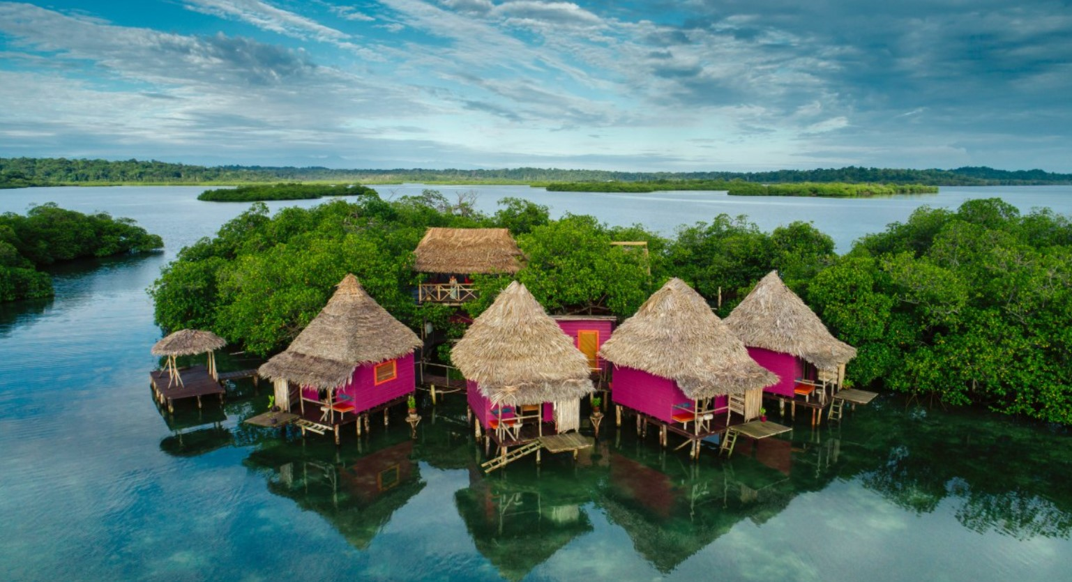 An aerial view of bright pink overwater bungalows in the caribbean with thatch rooves surrounded by jungle and the ocean