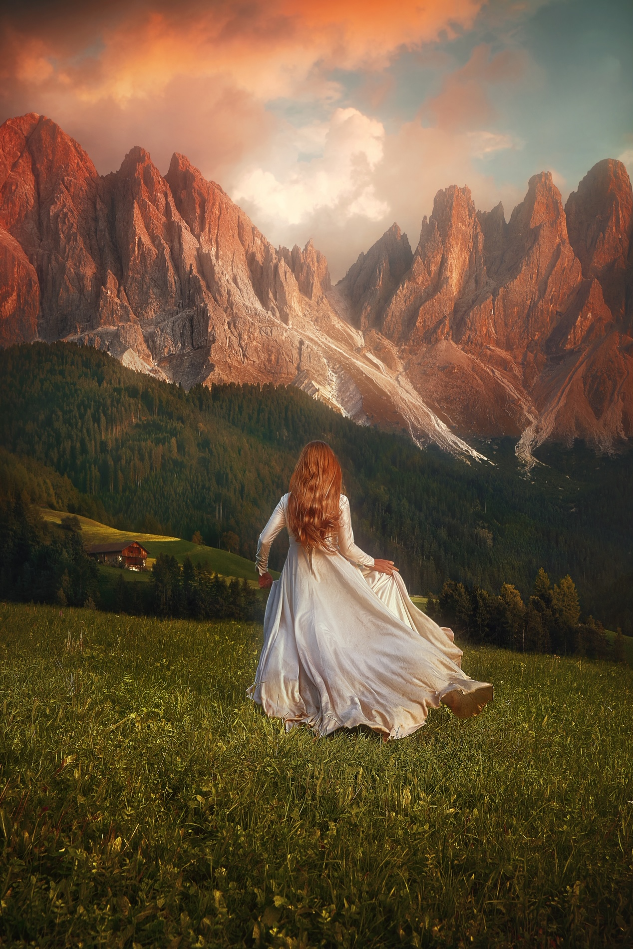Woman walking with mountains in background