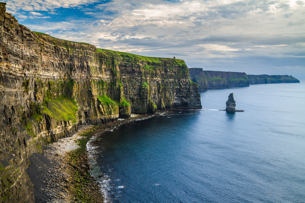 The Cliffs of Moher in Ireland on a beautiful day covered in bright grass