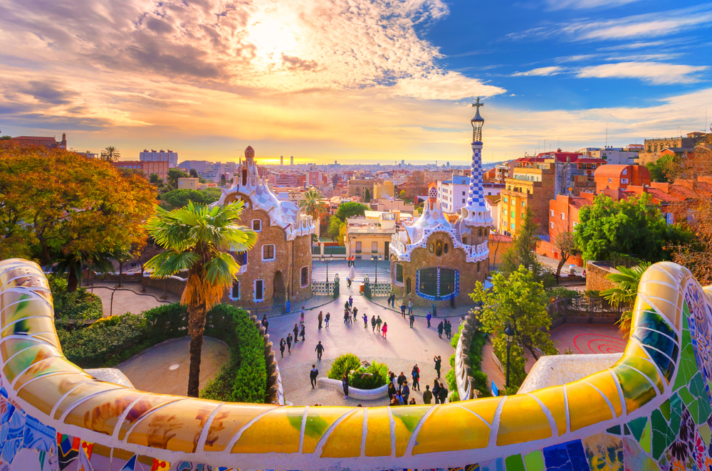 The colorful Park Guell in Barcelona at sunset
