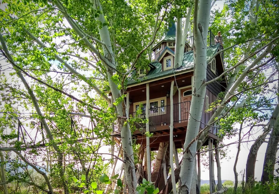 a photo of the fantasy treehouse and resort, one of the best Utah cabins