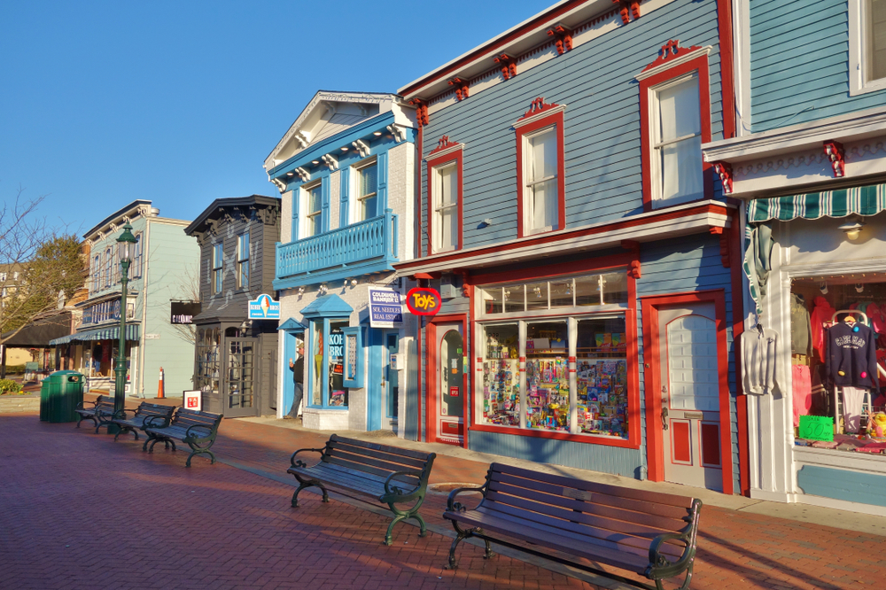 the colorful shops on the main street of Cape May New Jersey