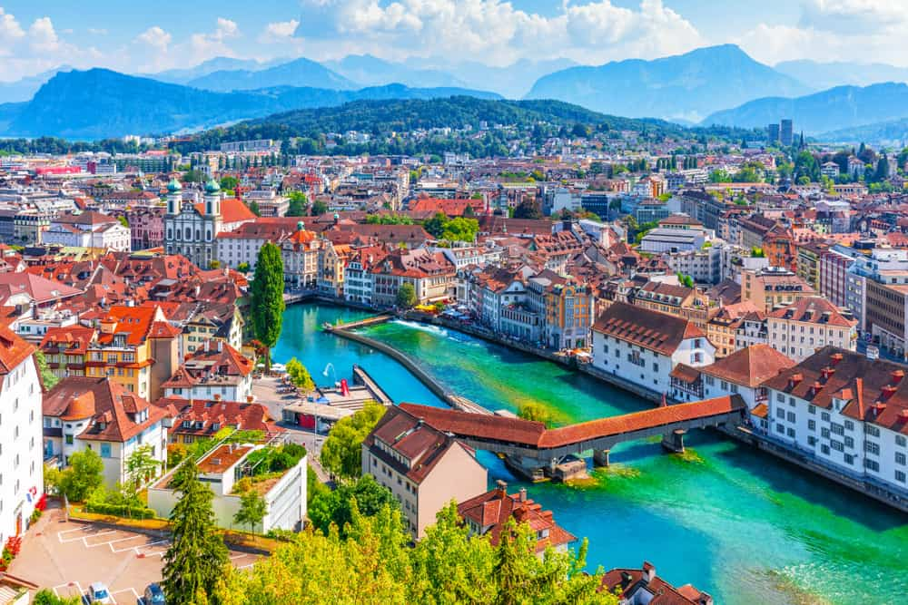 An aerial view of the beautiful Swiss city Lucerne